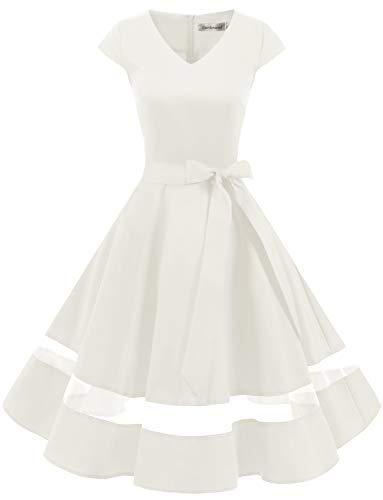 Gardenwed 1950er Vintage Retro Rockabilly Kleider Petticoat Faltenrock Cocktail Festliche Kleider Cap Sleeves Abendkleid Hochzeitkleid White S