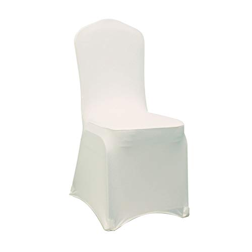 WELMATCH Ivory Stretch Spandex Chair Covers Wedding Universal - 10 Pcs Banquet Wedding Party Dining Decoration Scuba Elastic Chair Cover (Ivory, 10)
