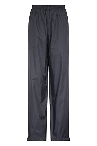Mountain Warehouse Agrimensores Impermeables para Hombre - Pantalones de Breathable, Pantalones Grabados de Las Costuras, Acoplamiento Alineado Negro XS