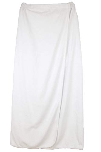 Women's Spa Wrap White Cotton Spa Bath Towel Wrap,One Size Perfect Fits Length-40 Inches, Sweep-60 Inches,with Adjustable Velcro Closure & Elastic Top, Bathrobe,Body Wrap,Premium Quality