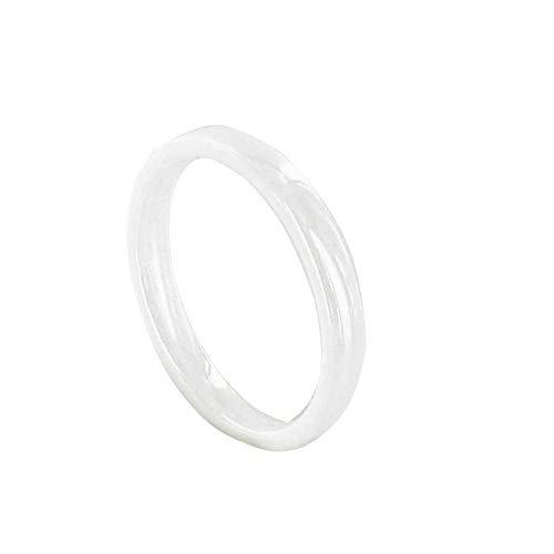 LES POULETTES BIJOUX - Bague Anneau de Céramique Blanche - 3mm - Taille 58