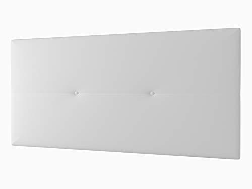 LA WEB DEL COLCHON - Cabecero Tapizado Génova para Cama de 80 (90 x 55 cms) Blanco | Cama Juvenil | Cama Matrimonio | Cabezal Cama | Cabeceros tapizados Dormitorio