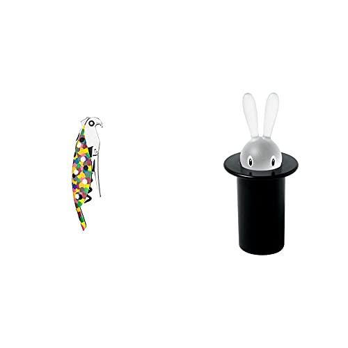 Alessi AAM32 1 Proust Parrot Cavatappi per Vino di Design, in Alluminio Profuso e PC, Multicolore & Magic Bunny ASG16 B Portastuzzicadenti di Design in Resina Termoplastica, Nero