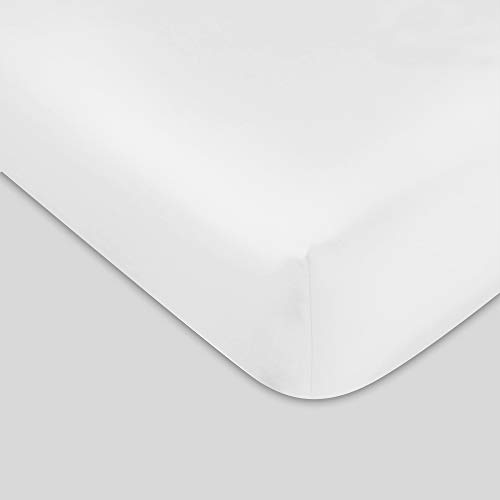 300 TC GOTS Certified 100% Organic Cotton King Sateen Weave Fitted Sheet - Fits Mattress Up to 16' Deep Pocket - Supremely Soft & Shiny Close to Nature Biodegradable Sheet - White - King Fitted