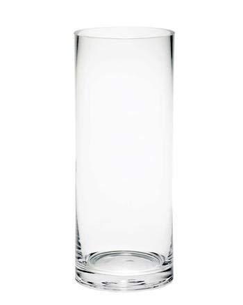 Floralcraft Vase cylindrique classique en verre fait à la main 30 cm x 12 cm