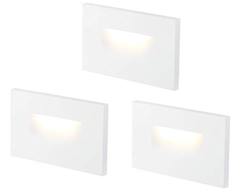 Cloudy Bay 3 Color 120V Dimmable LED Indoor Outdoor Step Light,3000K/4000K/5000K Selectable,3W 100lm CRI90+, White Finish, Pack of 3