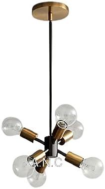 A.N.C Chandelier Brass Antique & Black 6-Light Mid Century Modern Light Semi Flush Mount Ceiling Light Fixtures for Dinin