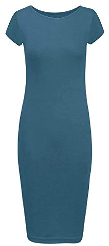 Mode Liefhebbers Vrouwen Dames Cap Sleeve Bodycon Plain Jersey Midi Jurk Plus Maat 6-26 (12, Blauwgroen)