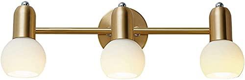 ZJJZ Espejo de baño Luz de latón Aplique de Pared Iluminación Industria Retro Vintage 3 Luces Lámpara de Pared Interior Accesorios Arriba y Abajo Soporte de lámpara Ajustable E14 Luz de maquillaj