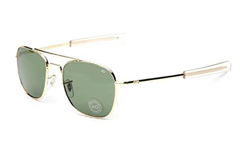 AOCCK Gafas de sol Pilot Sunglasses American Optical Glass Lens Sun Glasses Oculos De Sol Masculino green and gold