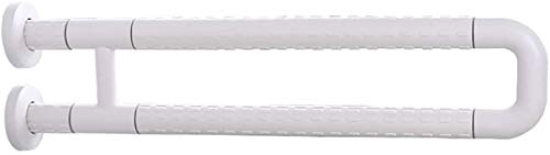 GAOLILI Barras de sujeción Riel de Mango de Soporte, Baño Agarra de Seguridad Barra de Agarre Antideslizante Brazalete Plegable con Tornillos Ocultos (Size : White)