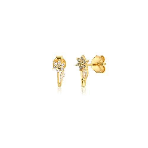 Pendientes pequeños de plata y oro de 925 con tachuelas de lujo de cristal de moda para mujer, pinzas para perforar, joyería fina y pequeña, circonita-oro