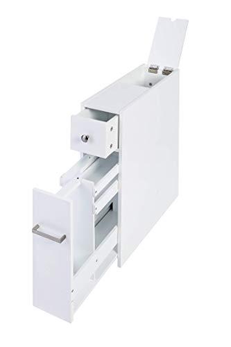 Spirich Home Slim Bathroom Storage Cabinet, Free Standing Toilet Paper Holder,Bathroom Cabinet Slide Out Drawer Storage,White