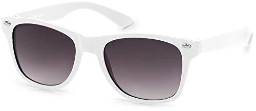 styleBREAKER Gafas de sol Kids Nerd con montura de plástico y lentes de policarbonato, diseño clásico retro 09020056, color:Marco Blanco / delineado vidrio gris