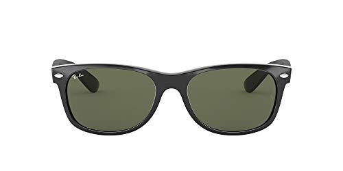 Ray-Ban New Wayfarer Classic RB 2132 Gafas de sol, Negro (Black With G/15 Lenses), 58.0 Unisex Adulto