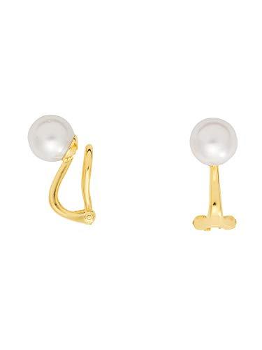 1 Paar Gold Ohrringe Ohrclips 14 k 585 Gelbgold mit Süßwasser Zuchtperle Ø 8 mm
