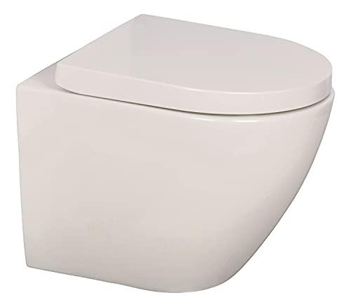 'aquaSu® Spülrandloses Wand-WC oCura mit WC-Sitz | Raumspar-WC: 45 cm Ausladung | Toilettensitz mit Absenkautomatik | Tiefspüler | Hänge-Toilette | Wandmontage | Sanitärkeramik | weiß | 04875 0