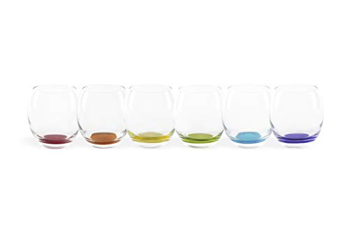 Excelsa Granada - Juego de 6 vasos de 400 ml, cristal, transparente con fondo de color