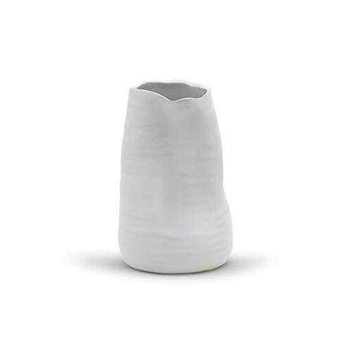 "WGV Ceramic Vase, Width 4"" Height 6"", White Tall Hand Thrown Pot, Warped Planter for Wedding Event Office Home Decor, Natural Art Design, 1 Piece"