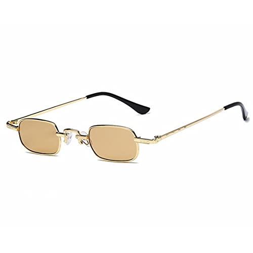 ACEHE Gafas de Sol, Retro Punk Gafas de Montura pequeña Gafas de Sol cuadradas Transparentes de Metal a la Moda Gafas de Sol rectangulares de visión de definición (Oro + Amarillo)