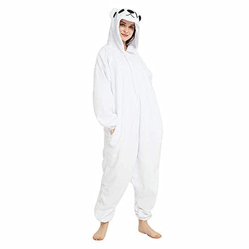 WEIYIing Pijamas de Dibujos Animados para Adultos, Pijamas de Oso Polar, Pijamas de Animales para Mujeres, Disfraz Blanco para Hombres, Pijama de Cosplay para Fiesta de Halloween-Oso Onesie_SG