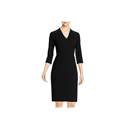 Elie Tahari Womens Althea V Neck Panel Midi Dress Black 14