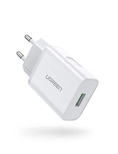 UGREEN USB Cargador 18W Cargador Quick Charge 3.0 Cargador Móvil Carga Rápida para Samsung S10 S9 S8 S7 A50 A40 A30 M30, Xiaomi Mi 9, Redmi Note 8 Pro, Sony Xperia 10, Huawei P40 P30,HTC U11 y LG G8s