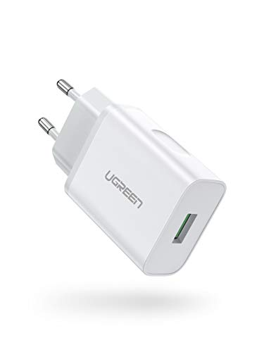 UGREEN USB Ladegerät 18W Quick Charge 3.0 Schnellladegerät kompatibel mit Samsung S10 S9 S8 S7 A50 A40 A30 M30,Sony Xperia 10,Redmi Note 8 Pro,Xiaomi Mi 9, Huawei P30 lite,HTC U11,LG G8s usw.Weiß