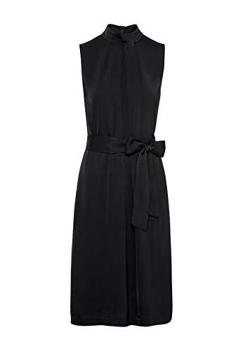 HALLHUBER Kleid mit Faltendetails und Bindegürtel gerade geschnitten schwarz, 36