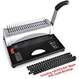 Binding Machine, 21-Hole, 450 Sheet, Paper Punch Binder with Starter Kit 100 PCS 3/8'' PVC Comb Bindings, Comb Binding Machine for Letter Size / A4 / A5
