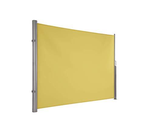 Ultranatura Maui Seitenmarkise, Seitenwandmarkise ausziehbar, Seitenrollo Balkon, Terrasse und Garten, Windschutz und Sichtschutz robust, 300 x 180 cm, gelb