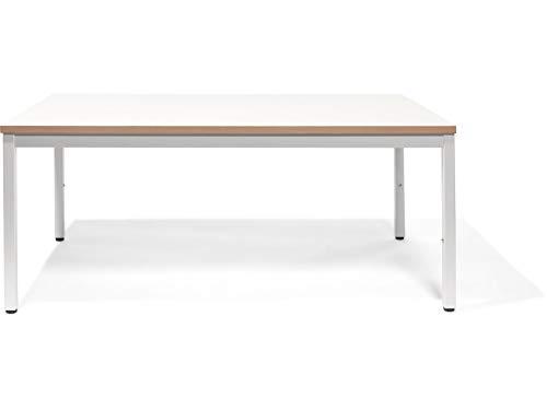 Modulor Kindertisch M2 mit höhenverstellbarem Tischgestell und geperlter Tischplatte (2,5 x 68 x 120 cm), Kinderschreibtisch mit Buche-Umleimer, weiß