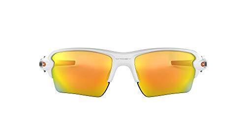 Oakley Men's OO9188 Flak 2.0 XL Rectangular Sunglasses, Polished White/Fire Iridium, 59 mm