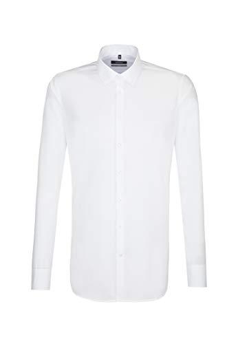Seidensticker Herren Business Hemd X-Slim Fit – Bügelfreies, sehr schmales Hemd mit Kent-Kragen – Extra langer Arm – 100% Baumwolle, Weiß (Weiß 1), Large (Herstellergröße: 41)