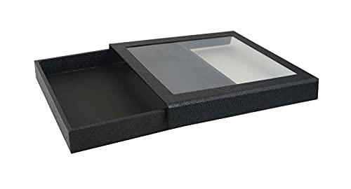 Bandeja magnética de acrílico desmontable con tapa negra y opción de inserto, presentación de almacenamiento al por menor de joyería para mostrador de ventana (bandeja x negro 16 compartimentos)