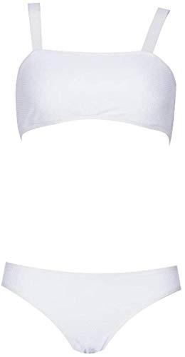 Sexy vrouwen split zwembroek, witte laagbouw mesh bikini, tweedelig pak, strapless borst pad badpak, Maat: XL (Size : S)