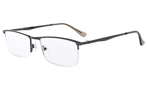Eyekepper Qualität HalbrandLesebrille mit Federscharniere in metallisches Blaugrau +0.75