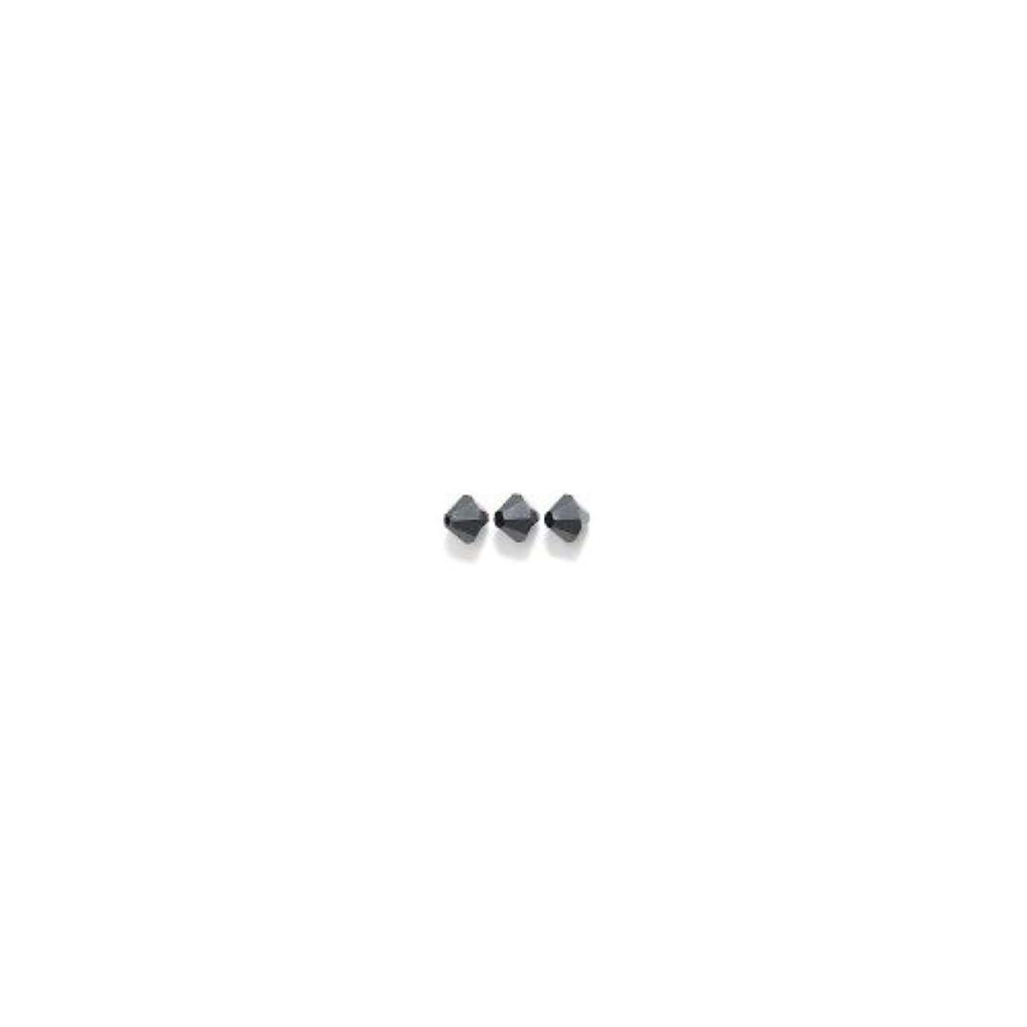 Swarovski 5328 Xilion Bicone Diamond Beads, Opaque, Jet, 6-mm, 24/Pack