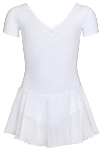 tanzmuster ® Ballettkleid Mädchen Kurzarm - Betty - aus Baumwolle mit Glitzersteinen und Chiffon Röckchen in weiß, Größe:140/146