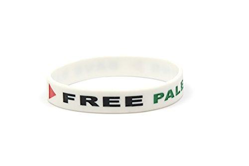 YSN Home Collection Armband Armreif aus Gummi 'Free Palestina' 'Save Gaza' Palästina Gasa - Weiss