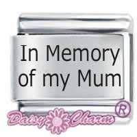 In Memory Of My Mum ETCHED Italian Charm Fits all 9mm Italian Style Charm Bracelets