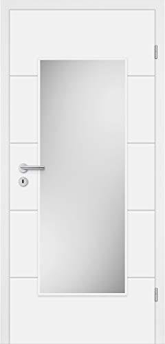 HORI® Zimmertür Komplettset mit Zarge und Türdrücker I Innentür weiß lackiert mit 4 Querstreifen und Verglasung I DIN rechts I 1985 x 860 x 160 mm