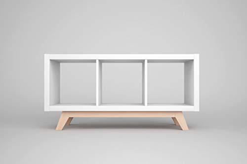 New Swedish Design Kallax Regal Untergestell, Holzgestell aus echter massiver Buche, für Kallax-Breite: 3 Regalfächer, schräge Möbelfüße, Füsse f. Sideboard Lowboard skandinavisch