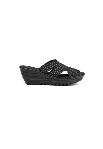 B M Bernie Mev Women's Lori Wedge Sandals - Lori es una cuña Sandalia de 5cm de Altura con Planta de Memory Foam y Suela Ultra Ligera (Black Silver, Numeric_38)