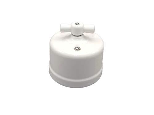 Interruptor-conmutador superficie porcelana con lazo