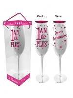 Flûte à Champagne 1 An de Plus - Bleu ou Rose