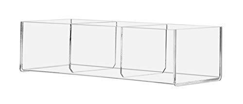 "Marketing Holders Acrylic 3 Compartment Storage Organizer Bin 12"" x 3"" Counter Table Top 3 inches Deep Value Pack of 2"