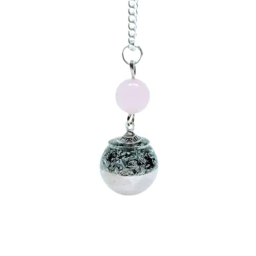 Colgante de orgón en forma de esfera de cuarzo rosa y virutas de aluminio con cadena de plata de ley 925.