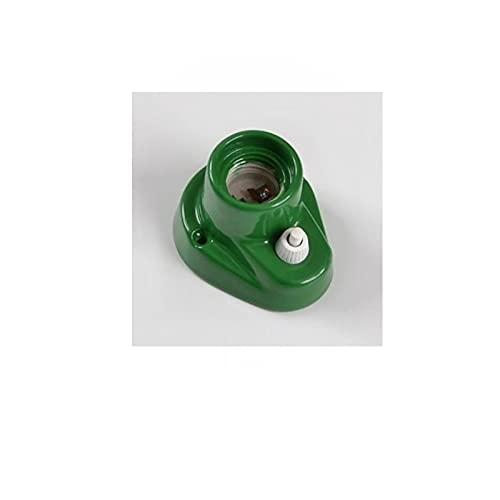 E27 Vintage Lampholder - Lámpara de techo (porcelana recta, con interruptor, 0070, pared o techo, color verde