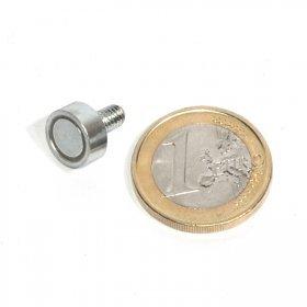 123-magnet Aimant néodyme Ø 10 mm avec Tige filetée, Force d'adhérence ~ 2,5 kg